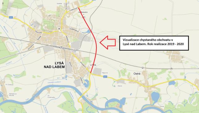 Vizualizace chystaného obchvatu Lysé nad Labem.