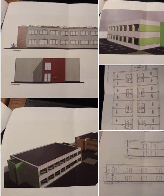 Nákres budovu připomínajíící velkokapacitní ubytovny